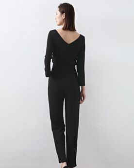 Black Long Sleeves Backless Sheath Spring Maxi Jumpsuits Casual Wear Simple