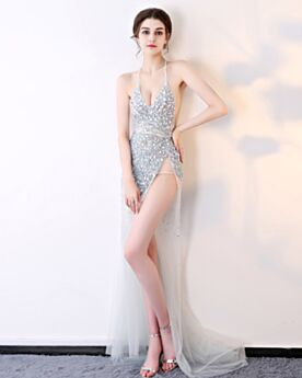 Sheath Transparent Gala Dress 2019 Open Back Sleeveless Evening Dresses Sexy Sequin Club Dress Halter Gray