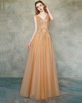 Elegante Abendkleider Lange A Linie Festliche Kleider Jugendweihe Kleider Orange Ballkleider Rückenausschnitt