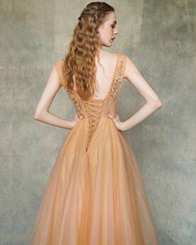 Arancioni Vestiti Per 18 Anni Lungo Vestiti Da Ballo Schiena Scoperta Eleganti Abito Scollo A V Con Tulle Abiti Da Cerimonia