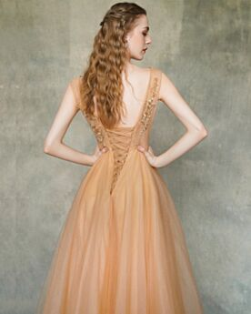 Prom Dresses Elegant Sweet 16 Dress Orange Evening Dress 2019 Open Back Long