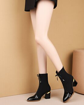 Black Boots Tulle Winter Chunky Heel 7 cm Mid Heel Ankle Boots Leather