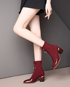 Thick Heel Booties Boots Stretch Leather Burgundy 7 cm Mid Heels