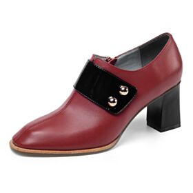 Metal Button Color Block Office Shoes Mid High Heeled Oxford Shoes For Women Shooties Chunky Heel