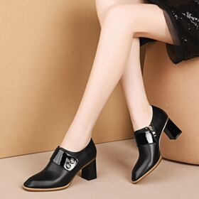6 cm Mid Heels Leather Women Shoes Block Heel Office Shoes Black Oxford Shoes For Women