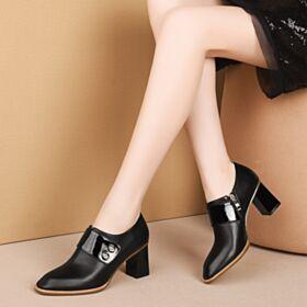 Cuir Bouton Métallique 6 cm Talon Mid Noir Chaussures De Travail Chaussures Oxford Color Block Talons Carrés 2019
