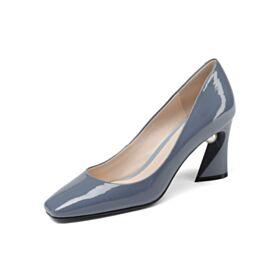 Pumps Blau 8 cm High Heel Chunky Heel