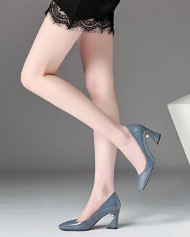 Azul Tacones Altos 8 cm Tacon Ancho Para Trabajo Piel Zapatos Tacones Clasicos