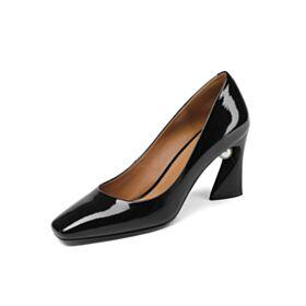 Clasico Zapatos Con Tacon Grueso Tacon Alto Negros De Piel