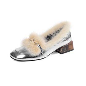 Klassiek Blokhakken Lak Kitten Heels Loafers Zilveren Leren Comfort Gevoerde