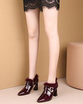 Chunky Heel Spitz Zeh Burgunderrot Mit 8 cm High Heel Stiefeletten Business Schuhe Bequeme