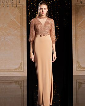 Long Sleeves Brown Charmeuse Red Carpet Dresses Sheath Formal Evening Dress Gorgeous High Neck Sequin Long Sparkly