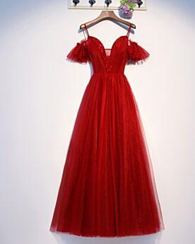 Rüschen A Linie Schöne Schlichte Abendkleid Abiballkleider Off Shoulder Rückenfreies Tiefer Ausschnitt Lange