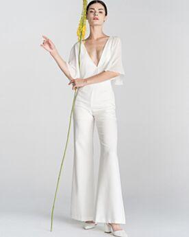 Elegante Lange Rüschen Tiefer Ausschnitt Abendkleid Chiffon Rückenfreies Weiss Halbe Ärmel Jumpsuit