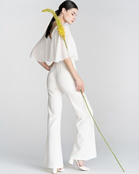 Schiena Scoperta Bianco Lunghi Chiffon Abiti Da Sera Jumpsuit Abiti Cerimonia Mezza Manica Eleganti