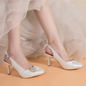 Pointed Toe 3 inch High Heeled Beautiful Bridals Wedding Shoes Stiletto Pumps Satin Slingbacks
