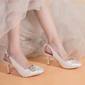 Stiletto Zapatos Con Tacon Color Marfil Elegantes Perlas Satin Zapatos Para Boda Tacones Altos 8 cm Destalonados