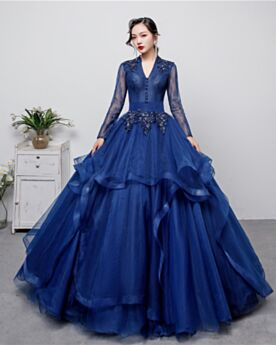 Navy Blue Beading Low Cut Ball Gown Formal Evening Dresses Long Sleeve Backless Long Lace Quinceanera Dresses Prom Dress Elegant Vintage