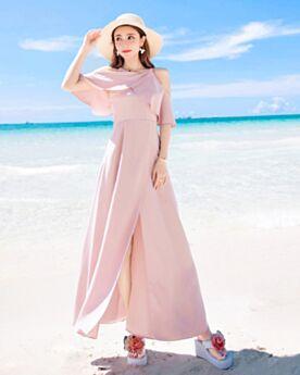 Vestido De Playa Largos Dividido Imperio Volantes Casuales Color Rosa Viejo Elegantes Sencillos Vestidos