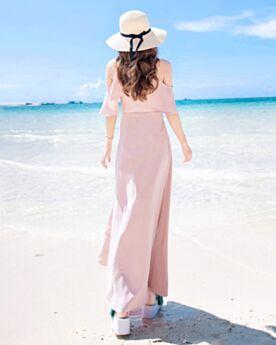 Sommer Schlichte Casual Kleid Rüschen Strandkleidung Chiffon Elegante Kleid Empire