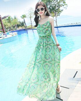 Beachwear Verde Acqua Stampato Chiffon Lunghi Boho Vestito Casual