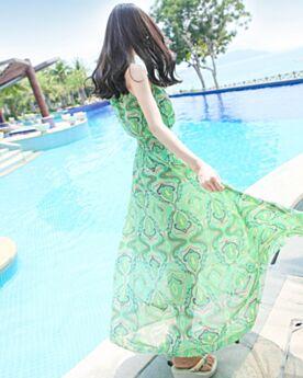 Tirantes Vestidos Estampados Ropa De Playa Casuales De Gasa Vestidos Verde Agua Bohemios Largos