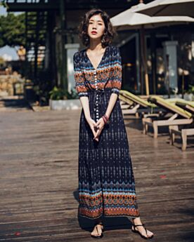 Chiffon Dress Split Front Boho Beachwear Shirt Summer 2018 Half Sleeve