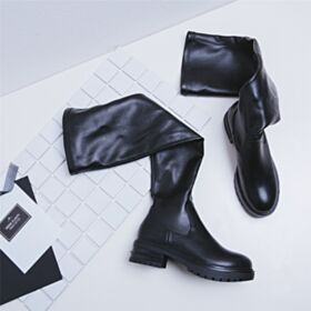 Boots Round Toe Flats Over Knee Boots Stretchy Black