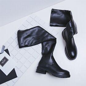 Bottes Stretch Cuir Chaussures Feemes Noir Cuissardes Plates