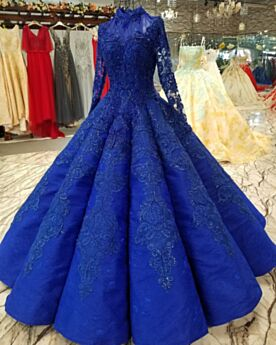 Royal Blue Prom Dresses Elegant Engagement Dresses High Neck Long Tulle Modest Long Sleeves Lace Ball Gowns