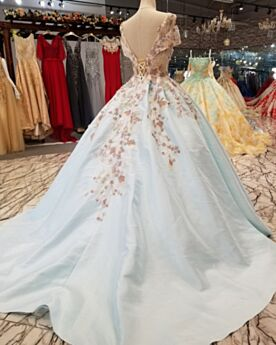 Prom Dress Cute Lace Open Back Ball Gowns Appliques Light Blue Long Plunge Off The Shoulder