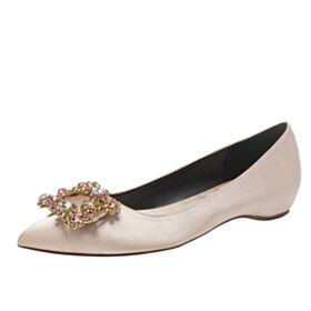 Pointed Toe Bridesmaid Shoes Ballet Shoes Champagne Bridal Shoes With Rhinestones