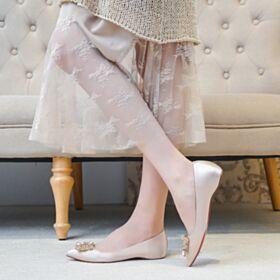 Ballerina Kristal Comfortable Runtige Neus Champagne Platte Bruidsmeisjes Schoenen