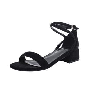 Comfort Enkelband Leren Sandalen Zwart 3 cm Hakken Blokhakken