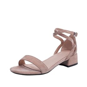 1 inch Kitten Heel Blushing Pink Block Heels 2019 Thick Heel Sandals