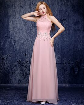 Evening Dresses Bridesmaid Dress Backless Elegant Blushing Pink Halter Empire Chiffon Lace Cold Shoulder Long
