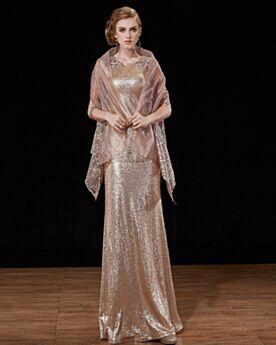 Verlobungskleid Glitzernden Organza Brautmutterkleider Etui Abendkleider Mit Mantel Gold Elegante Pailletten Fallen Ärmellos Lange