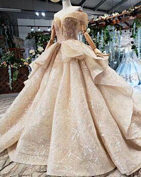 Brillante Sequin Glitter Longue Dos Nu Robe De Mariée Décolleté Boule À Frange Dorée