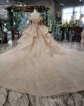 Glitzer Rückenfreies Kirche Brautkleider Pailletten Prinzessin Rüschen Tiefer Ausschnitt Luxus Lange