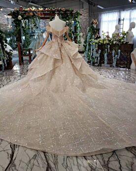Sleeveless Church Fringe Bridals Wedding Dress Glitter Gold Sequin Long Low Cut Sparkly