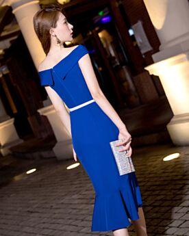 Vestidos De Coctel Para Fiesta Hombros Caidos De saten Con Manga Corta Elegantes Con Cinturon Azul Electrico