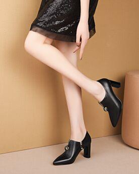 Stiefeletten Klassisch Schwarz Chelsea Lack Chunky Heel