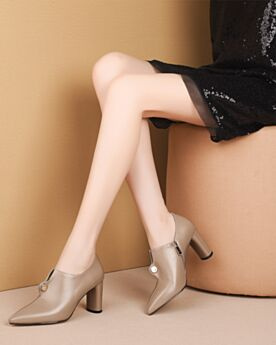 Beige Mid High Heeled Booties Chunky Heel Chelsea Shooties Pointed Toe Leather