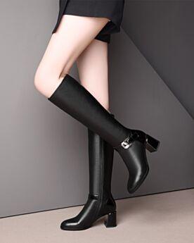 Cuir Confort Bottes Hautes Classique Noir Talon Carrés Chaussure