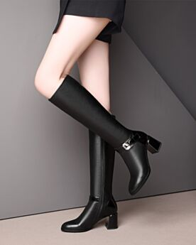 Patent Round Toe Block Heel Leather 6 cm Heel Black Classic Knee High Boots