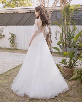 Giardino Vestiti Da Sposa Trasparente Bianco Impero Schiena Scoperta In Pizzo Girocollo