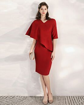 Semi Formal Dress Mother Of Bridal Dress Elegant Burgundy Sheath Ruffle Short