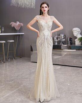 Kleider Für Festliche Lange Ärmellos Rundhalsausschnitt Tiefer Ausschnitt Elegante Pailletten Meerjungfrau Perlen Abendkleid