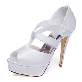 Bridals Wedding Shoes White Stilettos Strappy Platform Sandals For Women Peep Toe 13 cm High Heels Satin