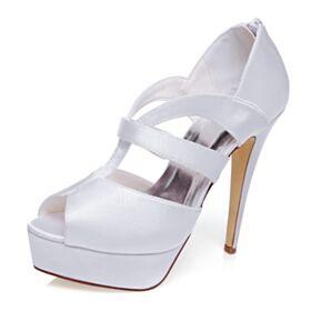 Plataforma Peep Toe Elegantes Sandalias Blanco Tacones Altos